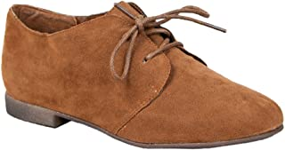 Breckelle's SANDY-31 Tan Basic Classic Lace Up Flat Oxford Shoe 8,8 B(M) US