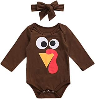 Newborn Baby Girl Thanksgiving Outfit Turkey Romper Bodysuit Headband One-Piece Overall Thanksgiving Clothes Set