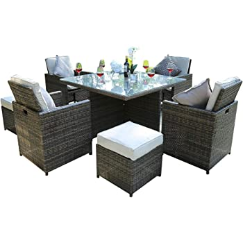 Direct Wicker Garden Patio Cube Set Four Seats With 4 Footstools And Cushions Brown Amazon Co Uk Garden Outdoors