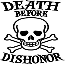 Decal Flags USA Death Before Dishonor Skull Military - Peel and Stick Sticker - Auto, Wall, Laptop, Cell, Truck Sticker for Windows, Cars, Trucks