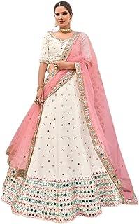 OFF WHITE Indian Designer Party Silk Zari & Mirror Hand Work Women'a Ghagra Lehenga Choli Dupatta 6247
