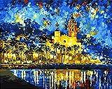 FNBN Pintar por numeros Adultos España Sitges fantasía Paisaje Digital al óleo Digital para Colorear Lienzo Pintado a Mano al óleo decoración del hogar 40X50