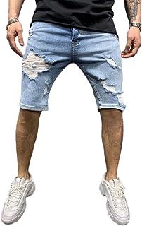 Pantalones Vaqueros de Cinco Puntos para Hombre Agujeros Rasgados Borde Rasgado Pantalones Cortos de Mezclilla de Color só...
