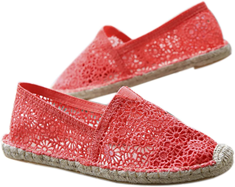 QZUnique Women's Basic Ballet Floral Lace Slip on Breathable Flats shoes