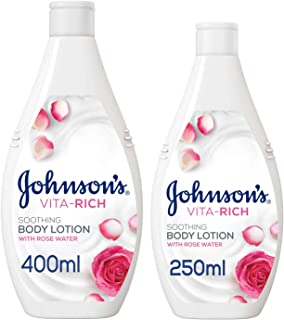 JOHNSON'S Body Lotion Vita-Rich Soothing, 400 + 250 ml (Pack of 2)