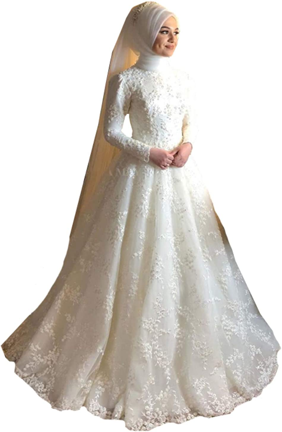 Melisa Women's Long Sleeves Bridal Ball Gowns Lace Sequins Appliques Train Wedding Dresses for Bride 2021