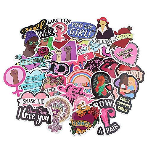 WYDML Feminist Stickers Creative Personality Travel Box Skateboard Refrigerator Laptop Cartoon Stickers 35 Pcs