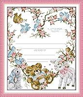 Joy Sunday クロスステッチキット 14CT 刻印入り刺繍キット 正確なプリント刺繍 - 出生証明書 (3) 44×52cm