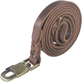 teck Braided Leather Heavy Duty Dog Leash 6 Ft Leather Dog Leash for Large Medium Dogs Training Walking