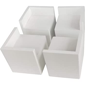 4pcs 60x32mm Square White Furniture Support Leg Heightened Feet Table Risers
