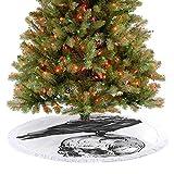 Adorise Falda de árbol de Navidad con borla, diseño de cuervo y pájaro, sentado en un cráneo viejo h...