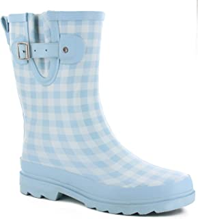 Womens' Waterproof Printed Mid Height Rain Boot, Grunge Gingham, 7 M US