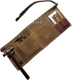 QEES Multifunction Tool Apron Vintage Brown Leather Single Side Apron With Adjustable Belt and Metal Buckle Waterproof and Durable for Men GJB71 (Khaki)