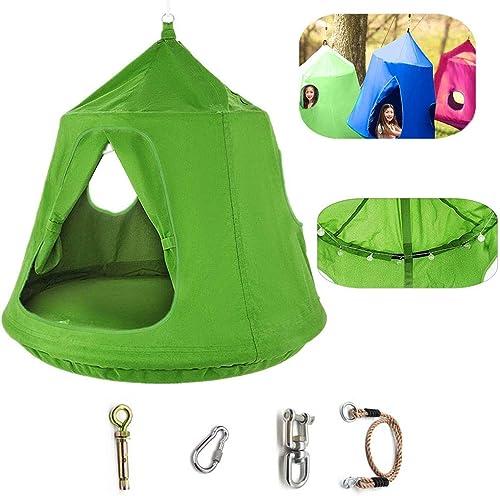 DTZW Tente Suspendue, Enfants Suspendus Tente Verte Originale Suspendue Arrière Cour Tente Extérieure Tente Hamac Haut pour BéBéS, Vert