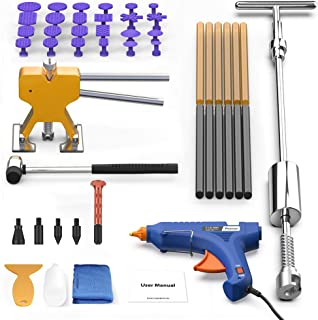POWPDR Paintless Dent Repair Tool - Pro Dent Removal Kit with Slide Hammer, Gold Dent Lifter Puller, 100W Glue Gun, Dent Remover kit for Auto Body Small and Large Dent Puller