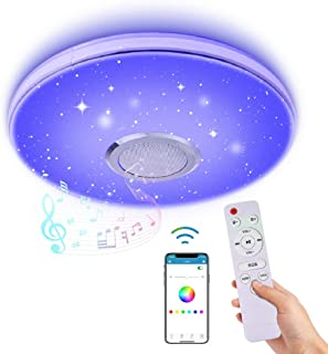WZTO 36W LED Music Ceiling Light with Bluetooth Speaker,RGB LED Ceiling Lights,Smartphone APP Control + Remote Color Changing Ceiling Lamp,Flush Mount Lighting,Ceiling Lamp for Kids Room Bedroom