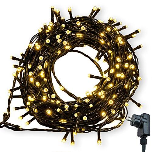 Lichterkette WISD 600 LED 62.8M Warmweiss Innen und Außen LED Beleuchtung mit EU Stecker auf Dunkelgrün Kabel für Weihnachten Garten Festival Party Hochzeit Dekoration Weihnachtsbaum Deko