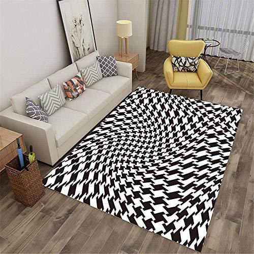 Home Alfombra De Salón Moderna Visión Abstracta de patrón geométrico Blanco y Negro Sala De Estar Dormitorio Pasillo Antideslizantes Alfombras 160X230CM (63'' x 91'')