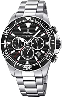 Men's Watch Festina - F20361/4 - Chronograph - Quartz - Date - AM/PM - Steel and Black - Stainless-Steel Strap