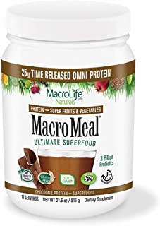 MacroLife Naturals MacroMeal Omni Superfood Powder Time-Released Protein Blend, Greens, Digestive Enzymes, Fiber, MCTs - E...