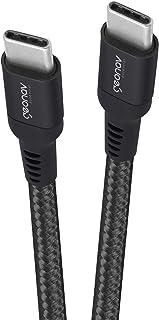 Cabo USB-C (tipo C) para USB-C (tipo C), nylon trançado, 1MT, Preto, ESC06, Geonav