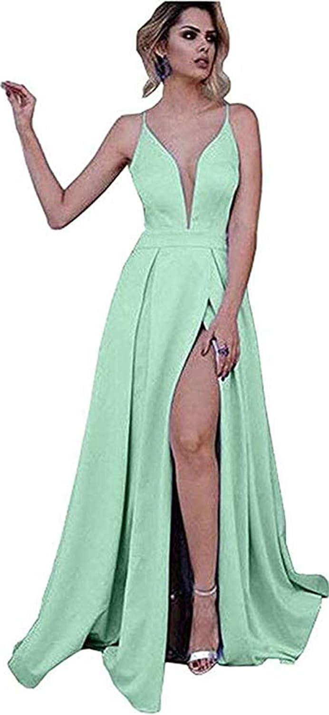 Womens Spaghetti Straps Prom Dresses Long Slit Satin VNeck Formal Evening Ball Gowns 2019