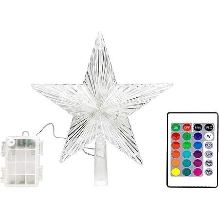 White Tree Top Star avec lumi/ères /à DEL blanc chaud et minuterie pour les d/écorations de No/ël et la d/écoration saisonni/ère CVHOMEDECO 20.3 cm