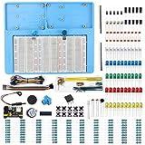 Makeronics 7 in 1 Blue Breadboard Holder Raspberry Pi 4 Holder + 1200 Breadboard+Electronics Fun Kit|Power Supply Module| Precision Potentiometer and More for Prototyping Circuit/Arduino/Raspberry Pi