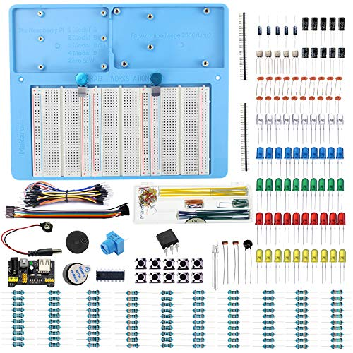 Makeronics 7 in 1 Blue Breadboard Holder Raspberry Pi 4 Holder + 1200 Breadboard+Electronics Fun Kit|Power Supply Module| Precision Potentiometer and More for Prototyping Circuit/Arduino/Raspberry Pi