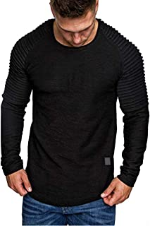 VOWUA Mens Solid Tops Simple Slim Fit Casual Pattern Large Size Short Sleeve Hoodie Top Blouses