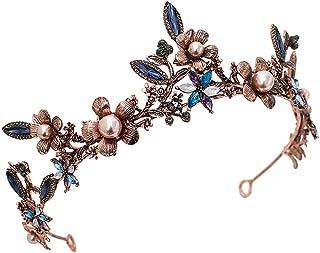 Lurrose Diadema Barocco Cristallo Vintage per Sposa,multicolore.
