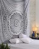 Arazzo Indiano Mandala Hippie decorazione da parete per camera dei bambini, soggiorno, camera da letto ,anche come tappetino da yoga, coperta da picnic, telo da mare 150 x 205cm, Grau
