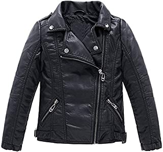 Children's Motorcycle Leather Jacket, Faux Leather Coat for Boys/Girls