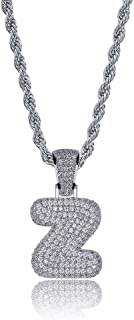 HECHUANG Hip Hop Jewelry Iced out Bubble Letter Initial Pendant Necklace Silver Rope Chain