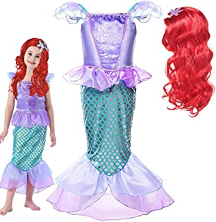 Princess Little Mermaid Costume for Girls Mermaid Wig Princess Ariel Cosplay Dress Up for Birthday Party Halloween Costume