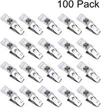 JKLcom Metal Badge Clips 100 Pack,Double Hole Badge Clips Clear Badge Clips Bulk Metal Badge Clips with Clear PVC Straps for Badge Holders,Office,School