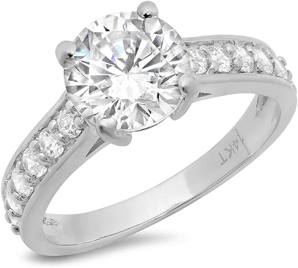 2.25 ct Brilliant Round Cut Stunning Genuine Flawless Clear Simulated Diamond Wedding Bridal Anniversary Promise Engagement Solid 18K White Gold Classic Solitaire with Accents Ring