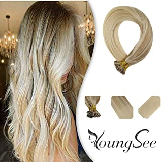 Youngsee 1G/Strand Remy Blonde Nano Ring Hair Extensions Balayage Color #Nordic Remy Micro Loop Nano Rings Human Hair Extensions With Salon Style 18inch