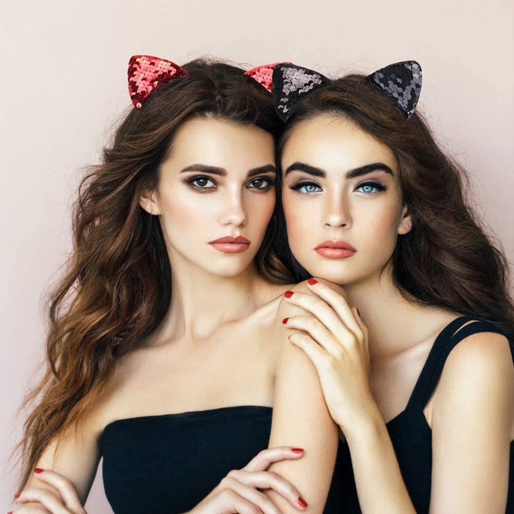 Sequin Cat Ears Headband Glitter Hair Hoops for Women Daily Wearing,Fancy Dress Cosplay