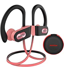 Mpow Flame Bluetooth Headphones Waterproof IPX7, Wireless Earbuds Sport, Richer Bass HiFi Stereo in-Ear Earphones w/Case, 7-9 Hrs Playback,Noise Cancelling Microphone (Comfy & Fast Pairing),Black Pink