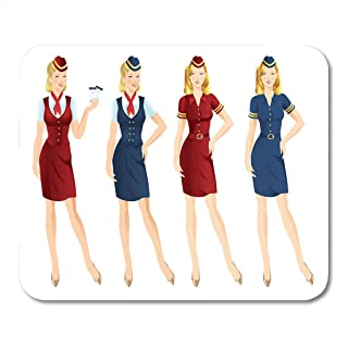 Emvency Mouse Pads Red Attendant of Air Hostess in Uniform and Formal Mouse Pad for notebooks, Desktop Computers mats 9.5