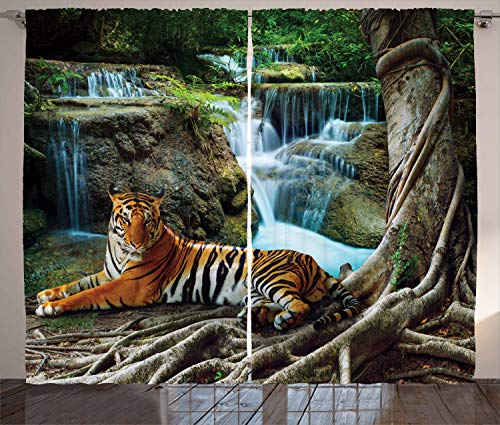Ambesonne Safari Curtains, Indochina Tiger Laying Under Banyan Tree Against Limestone Waterfall Relaxing Nature, Living Room Bedroom Window Drapes 2 Panel Set, 108