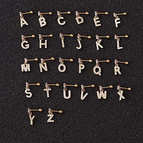 JIUXIAO 1pc 26 Letras inglesas Zircon Piercing Pendiente para Mujeres Acero Inoxidable Pin Pendientes joyería de punción