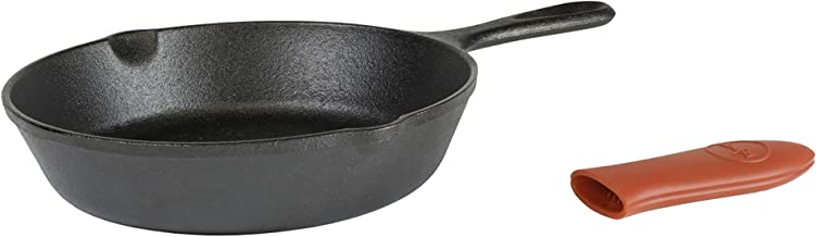 Lodge L5SK3ASHHM41B Cast Iron Skillet with Red Silicone Hot Handle Holder, 8-inch Black