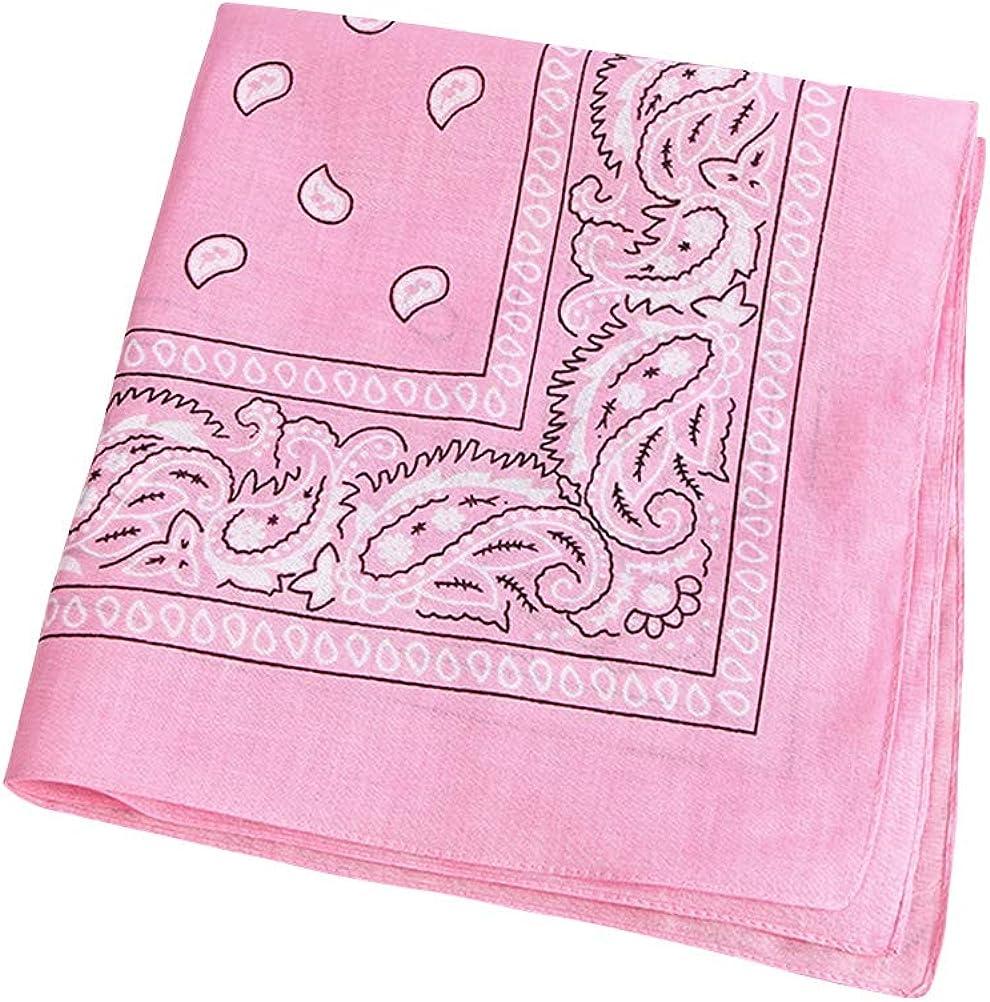 TENDYCOCO Multipurpose Bandana Printed Cotton Headband Sweat-absorbing Handkerchiefs (Pink)