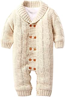 Goodkids Newborn Baby Jumpsuit Knit Sweater Rompers Warm Cotton Stripe Jumper