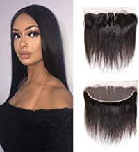 13x4 Three Part Ear To Ear Straight Hair Lace Frontal Closure Unprocessed Brazilian Virgin Silky Straight Human Hair Lace Front With Baby Hair (16 inch, STW)
