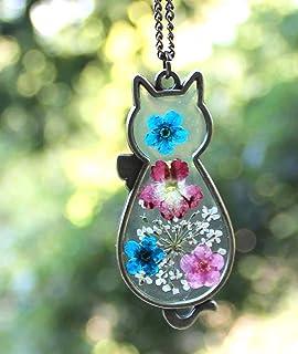 Fatto a mano Collana di fiori secchi Collana sveglia del pendente del gatto