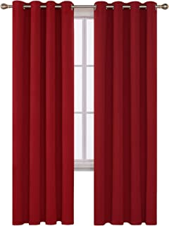 Deconovo Grommet Blackout Curtains Room Darkening Thermal Insulated Curtains for Patio Door 52x108 Inch True Red Set of 2 Panels