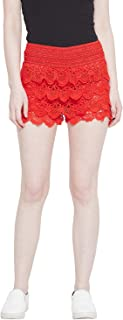 CAMEY Women Lace Spinning Cover Stretch Waist Flared Casual Shorts